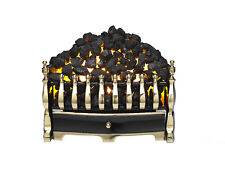 Electric fire Basket Black with Flicker Coal Bed Effect - Brass