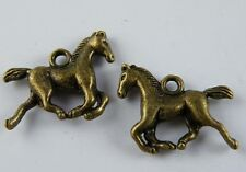 20pcs Silver/Gold/Copper/Bronze Color 3D Horse Charms 19x15mm 17511