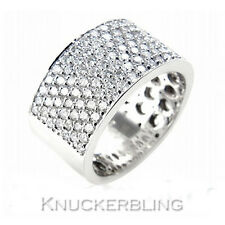 Pave Set Diamond Wedding Ring 1.60ct F VS 18ct White Gold Mans 10mm Wide Band