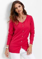 Bonprix Berry Red Smooth Knit Cardigan Size 14 16 NEW