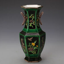 China old antique Hand painting jingdezhen Black Green flower Porcelain vase A4