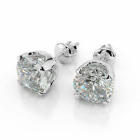 1 1/3 CT D/SI1 Brilliant Enhanced Diamond Stud Earrings Round Cut 14K White Gold