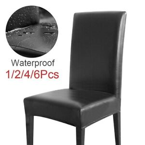 12/4/6Pcs Waterproof Chair Cover PU Leather Fabric Chair Covers Big Elastic Seat