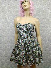 Sans Souci Floral Dress Size L Pin Up Strapless Corset Skater Tulle Fit Flare