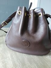 sac bourse vintage JG anse règlable cuir grainé synthétique brun bon état