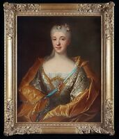 Fine Large 18th Century French Portrait of Lady Noblewoman Antique Oil Painting
