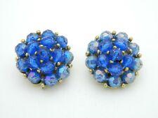 SELINI Blue Prystal Bead Beaded Cluster Gold Tone Vintage Clip On Earrings
