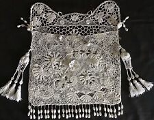 More details for exquisite handmade antique lace bag~embroidery/crochet/tassels/florals~stunning.