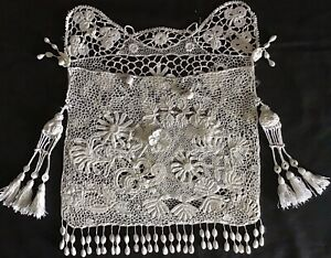 EXQUISITE HANDMADE ANTIQUE LACE BAG~EMBROIDERY/CROCHET/TASSELS/FLORALS~STUNNING.