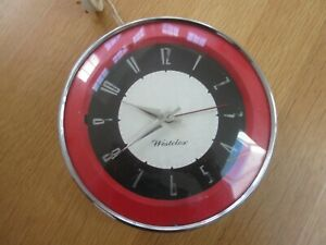VINTAGE 50's 60's RED ROUND ELECTRIC WESTCLOX WALL CLOCK, NOT WORKING