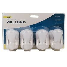 4 LED Stick Battery Cordless Wall Mount Pull Cord Handy Cupboard Light Lamp Bulb