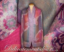 Belle étole 100% laine Multicolore dominante rose - CH78