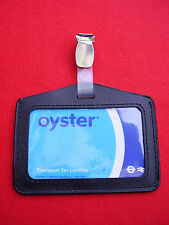 Black Leather Oyster Card/Security/Bus Pass ID Holder+Plastic/Metal Belt Clip L