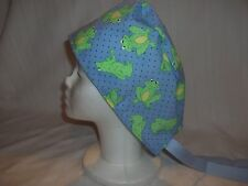 Blue with Frogs Surgical Scrub Chemo Biker Hat/Cap Tieback