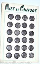 PLAQUE de mercerie complète 24 BOUTONS vintages plastique gris foncé irisé 17mm