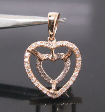 Heart 12×12mm Solid 14K Rose Gold Natural Diamond Semi Mount Engagement Pendant