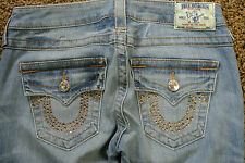 TRUE RELIGION Straight Jeans 27X33 NWOT$294 Distressed! USA! Studded TR Pockets!