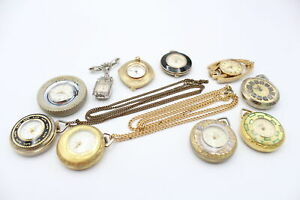 10 Vintage Ladies PENDANT / FOB WATCHES Hand-Wind WORKING Inc Taxima Tyre Watch