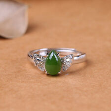 D02 Ring grüner Jaspis Schmetterling Sterling Silber 925 größenverstellbar