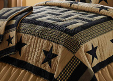 DELAWARE STAR 1pc Twin ** QUILT : BLACK TAN FARMHOUSE PRIMITIVE RUSTIC CABIN