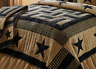 DELAWARE STAR Full / Queen QUILT : BLACK TAN FARMHOUSE PRIMITIVE RUSTIC CABIN