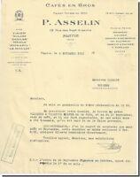 Lettre - P. ASSELIN Cafés en Gros Pantin 1931
