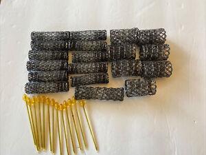 LOT of 17 Wire Brush Hair Rollers Vintage Black PLUS Picks