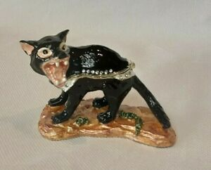 Tasmanian Devil Trinket box, Enamalled and Gold plated with Crystals