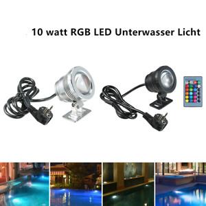 4stck LED RGB Unterwasser Tauch Spot Licht Aquarium Garten Brunnen Teich Lampe