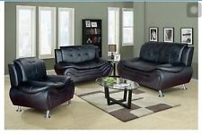 Black Compact Design Modern faux Leather Sofa Set 3 PC