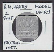 R.M.Hagey,Model Dairy,Preston,Ontario 1 Pint Milk Token