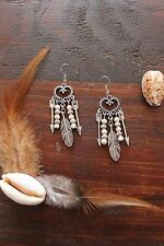 Stunning Handmade White Turquoise & Silver Tibetan Arrow Feather Dangle Earrings