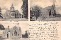 Postcard First M.E. Church, First Presbyterian Church in Wabash, Indiana~129801