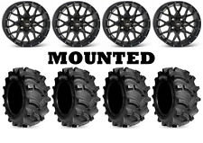 Kit 4 Kenda Executioner Tires 27x10-12 on ITP Hurricane Matte Black Wheels IRS