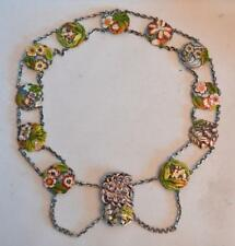 19th Century Japanese Silver and Enamel Floral Belt
