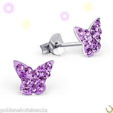 Lila Kristall Schmetterling Ohrstecker Echt 925 Silber Ohrringe Kinder