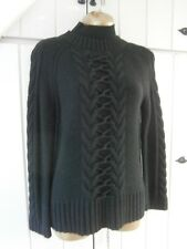 Karen Millen BLACK CABLE TURTLE NECK  knit sweater Jumper Medium size 2 = 12