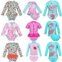 Baby Girls Long Sleeve UPF 50+ Rash Guards Swimsuit Bathing Swimming Beachwear