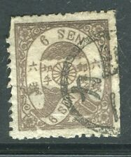 JAPAN; 1875 classic Cherry Blossom type issue fine used 6s. value