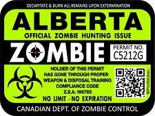 Canada Alberta Zombie Hunting License Permit 3x4 Decal Sticker Outbreak 1303