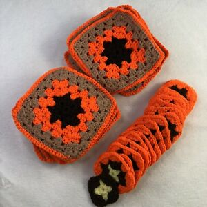 VTG Lot of 37 Crochet Granny Square for Finish Blanket Afghan Boho Multi Size
