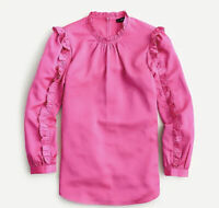 J Crew Women's Ruffle Sleeve Top Long Sleeve Blouse Satin Crepe Pink Size XS NWT