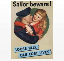Sailors Beware! World War 2 Propaganda Poster PHOTO Loose Talk Sexy Girls Navy