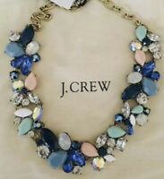 NWT J.Crew  Factory Authentic Crystal MIXED STONES NECKLACE In Faded Aqua