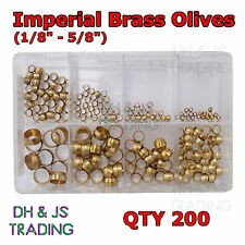 """Assorted box Imperial Brass Olives 1/8 5/32 3/16 1/4 5/16 3/8 1/2 & 5/8"""" Qty 200"""