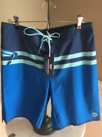 NWT Vineyard Vines $145 Azure Blue Bay Ridge Striped Tech Boardshorts Size 30