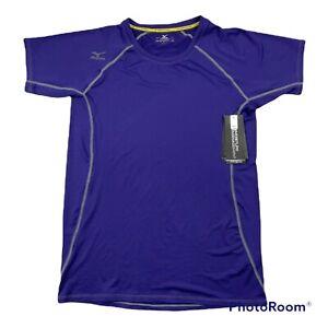 New Mizuno Short Sleeve T-Shirt Top Woman's Medium M Purple Volleyball Wicking