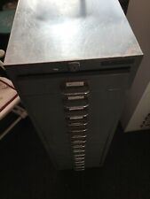 Vintage Industrial Grey Metal 15 Drawer Office Filing Cabinet Made By Bisley