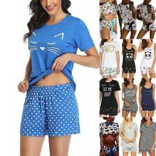 Womens Ladies Casual T-shirts Tops Shorts Sleepwear Nightwear Pyjamas Set Summer