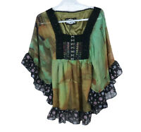 Meghan LA Women's Size 0 Floral Silk Embroidered Blouse Top Boho